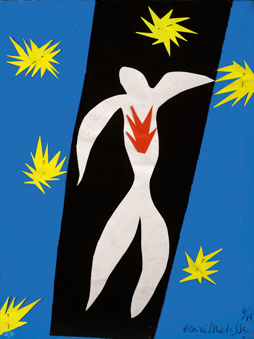 """in Pictures for Henri Matisse at MoMA. Image for Henri Matisse (French, 1869-1954). The Fall of Icarus (La Chute d'Icare), 1943. Gouache on paper, cut and pasted, and pins. 13 2/4 x 10 5/8"""" (35 x 27 cm). Private collection. © 2014 Succession H. Matisse / Artists Rights Society (ARS), New York"""