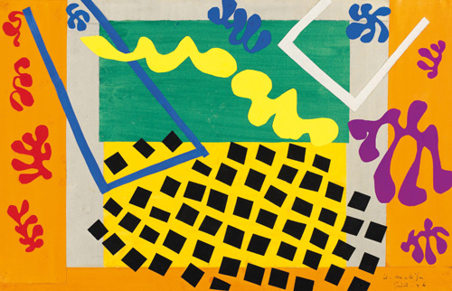 """in Pictures for Henri Matisse at MoMA. Image for Henri Matisse (French, 1869-1954). The Codomas (Les Codomas), 1943. Maquette for plate XI from the illustrated book Jazz (1947). Gouache on paper, cut and pasted, mounted on canvas. 17 1/8 x 26 3/8"""" (43.5 x 67.1 cm). Musée national d'art moderne/Centre de création industrielle, Centre Georges Pompidou, Paris. Dation, 1985. © 2014 Succession H. Matisse / Artists Rights Society (ARS), New York"""