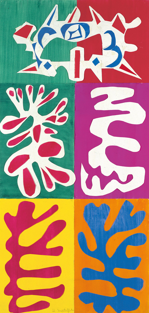 """in Pictures for Henri Matisse at MoMA. Image for Henri Matisse (French, 1869-1954). Panel with Mask (Le Panneau au masque), 1947. Gouache on paper, cut and pasted. 43 5/16 x 20 7/8"""" (110 x 53 cm). Designmuseum Danmark. © 2014 Succession H. Matisse / Artists Rights Society (ARS), New York"""