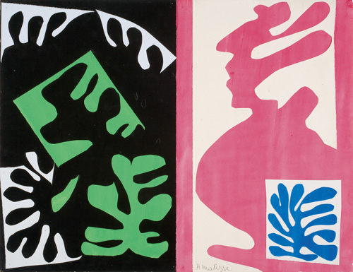"""in Pictures for Henri Matisse at MoMA. Image for Henri Matisse (French, 1869-1954). Composition, Black and Red (Composition, noir et rouge), 1947. Gouache on paper, cut and pasted. 16 x 20 ¾"""" (40.6 x 52.7 cm). Davis Museum and Cultural Center, Wellesley College, Wellesley, MA. Gift of Professor and Mrs. John McAndrew. © 2014 Succession H. Matisse / Artists Rights Society (ARS), New York"""