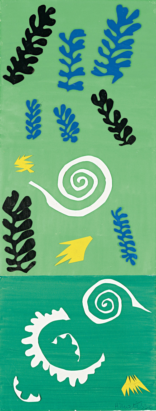 """in Pictures for Henri Matisse at MoMA. Image for Henri Matisse (French, 1869-1954). Composition Green Background (Composition fond vert), 1947. Gouache on paper, cut and pasted, and pencil. 41 x 15 7/8"""" (104.1 x 40.3 cm). The Menil Collection, Houston. Photograph: Hickey-Robertson, Houston. © 2014 Succession H. Matisse, Paris / Artists Rights Society (ARS), New York"""