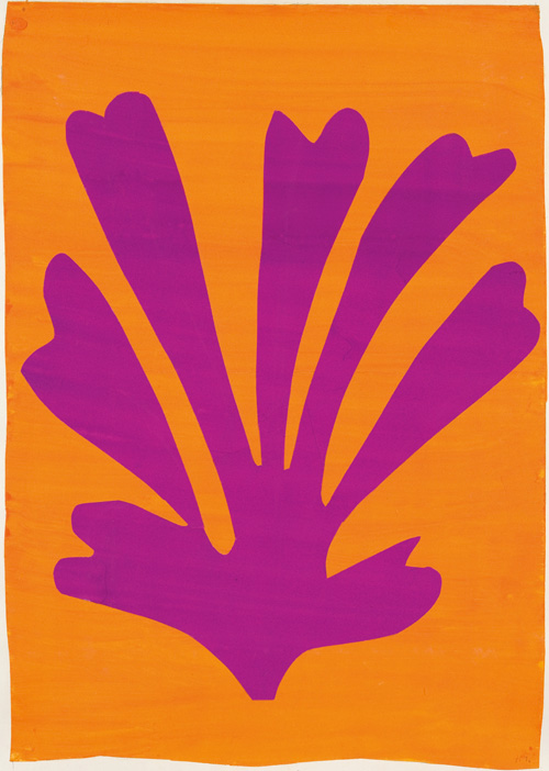 """in Pictures for Henri Matisse at MoMA. Image for Henri Matisse (French, 1869-1954). Palmette (Feuille violet sur fond orange), 1947. Gouache on paper, cut and pasted. 28 x 21"""" (71.1 x 53.3 cm). Mr. and Mrs. Donald B. Marron, New York. © 2014 Succession H. Matisse, Paris / Artists Rights Society (ARS), New York"""