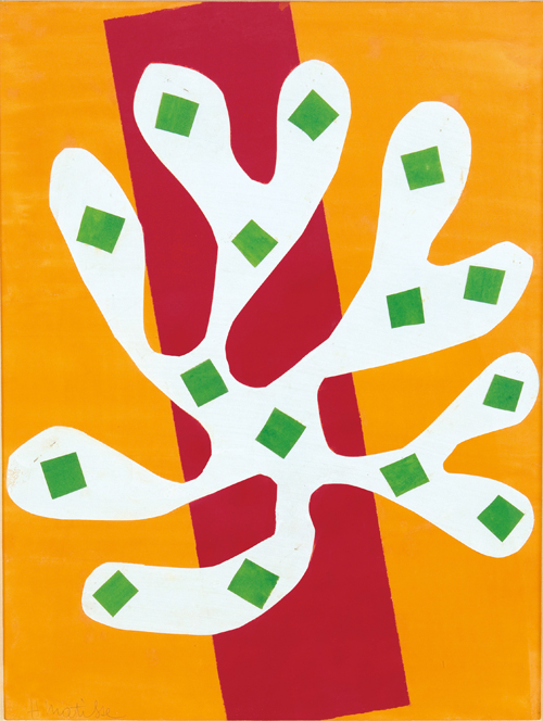 in Pictures for Henri Matisse at MoMA. Image for Henri Matisse (French, 1869-1954). White Alga on Orange and Red Background (Algue blanche sur fond orange et rouge), 1947. Gouache on paper, cut and pasted. 20 11/16 x 15 15/16 (52.5 x 40.5 cm). Mr. and Mrs. Donald B. Marron, New York. © 2014 Succession H. Matisse / Artists Rights Society (ARS), New York