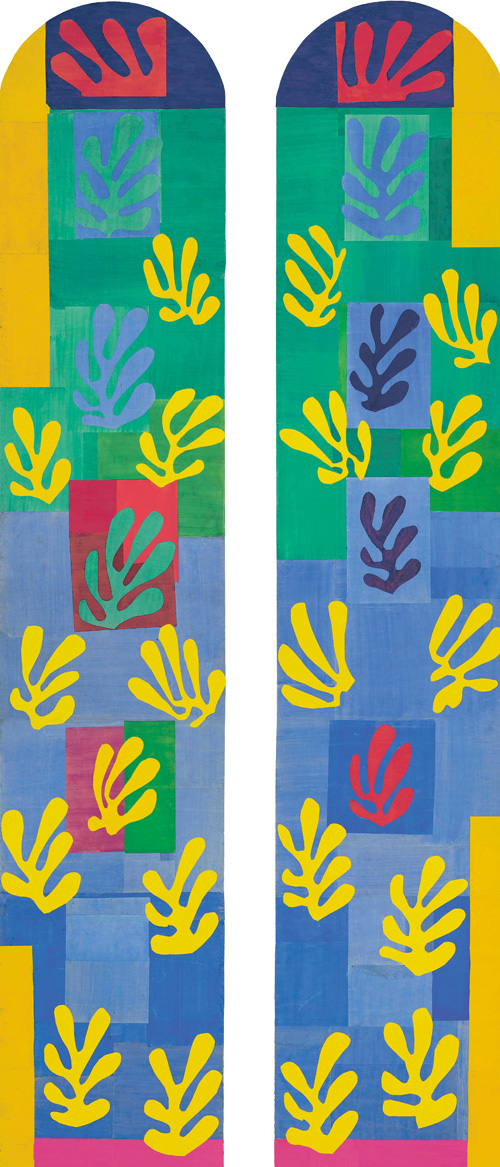 """in Pictures for Henri Matisse at MoMA. Image for Henri Matisse (French, 1869-1954). Pale Blue Window (Vitrail bleu pâle), November 1948–January 1949. Second maquette for the apse window for the Chapel of the Rosary, Vence. Two-part panel: gouache on paper, cut and pasted, on kraft paper, mounted on canvas. 200 ¾ x 99 3/8"""" (509.8 x 252.3 cm). Musée national d'art moderne/Centre de création industrielle, Centre Georges Pompidou, Paris. Gift of Mme Jean Matisse and Gérard Matisse, 1982. © 2014 Succession H. Matisse / Artists Rights Society (ARS), New York"""
