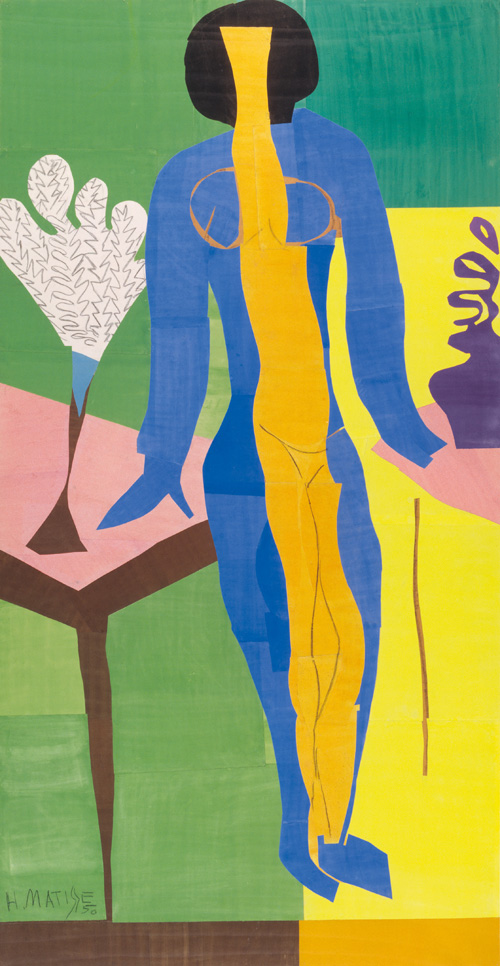 in Pictures for Henri Matisse at MoMA. Image for Henri Matisse (French, 1869-1954). Zulma, early 1950. Gouache on paper, cut and pasted. 93 11/16 x 52 3/8″ (238 x 133 cm). Statens Museum for Kunst, Copenhagen. © 2014 Succession H. Matisse / Artists Rights Society (ARS), New York