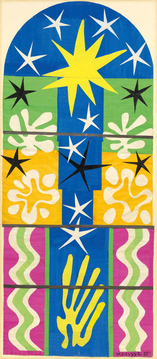 in Pictures for Henri Matisse at MoMA. Image for Henri Matisse (French, 1869-1954). Nuit de Noël. 1952. Maquette for stained-glass window. Gouache on paper, cut and pasted, mounted on board. 10'7″ x 53 1/2″ (322.8 x 135.9 cm). The Museum of Modern Art, New York. Gift of Time Inc. © 2014 Succession H. Matisse / Artists Rights Society (ARS), New York