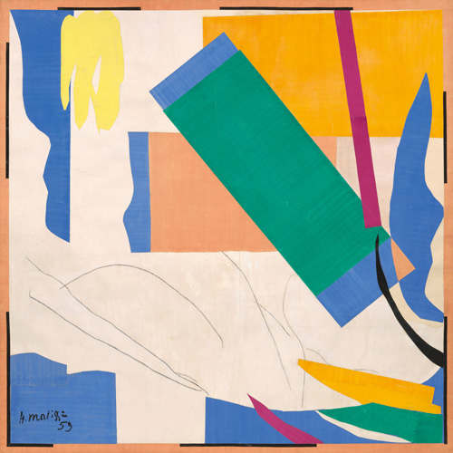 """in Pictures for Henri Matisse at MoMA. Image for Henri Matisse (French, 1869-1954). Memory of Oceania (Souvenir d'Océanie), summer 1952–early 1953. Gouache on paper, cut and pasted, and charcoal on paper, mounted on canvas. 112 x 112 7/8"""" (284.4 x 286.4 cm). The Museum of Modern Art, New York. Mrs Simon Guggenheim Fund, 1968. © 2014 Succession H. Matisse / Artists Rights Society (ARS), New York"""