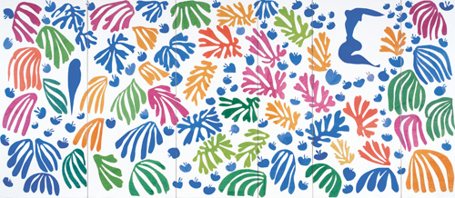 """in Pictures for Henri Matisse at MoMA. Image for Henri Matisse (French, 1869-1954). The Parakeet and the Mermaid. 1952. Gouache on paper, cut and pasted, and charcoal on white paper. 11' 11/16"""" x 25' 2 9/16″ (337 x 768.5 cm). Stedelijk Museum, Amsterdam. Acquired with the assistance of the Vereeniging Rembrandt and the Prince Bernhard Cultuurfonds © 2014 Succession H. Matisse / Artists Rights Society (ARS), New York"""