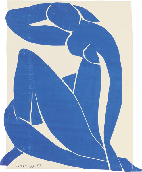 """in Pictures for Henri Matisse at MoMA. Image for Henri Matisse (French, 1869-1954). Blue Nude II (Nu bleu II), spring 1952. Gouache on paper, cut and pasted, on white paper, mounted on canvas. 45 ¾ x 35"""" (116.2 x 88.9 cm). Musée national d'art moderne/Centre de création industrielle, Centre Georges Pompidou, Paris. Purchase, 1984. © 2014 Succession H. Matisse / Artists Rights Society (ARS), New York"""