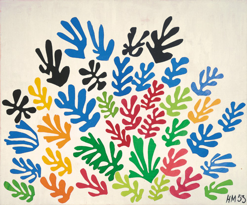 """in Pictures for Henri Matisse at MoMA. Image for Henri Matisse (French, 1869-1954). The Sheaf (La Gerbe), 1953. Maquette for ceramic (realized 1953). Gouache on paper, cut and pasted, on paper, mounted on canvas. 115 ¾ x 137 ¾"""" (294 x 350 cm). Collection University of California, Los Angeles. Hammer Museum. Gift of Mr. and Mrs. Sidney F. Brody. © 2014 Succession H. Matisse / Artists Rights Society (ARS), New York"""