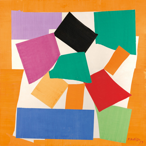 """in Pictures for Henri Matisse at MoMA. Image for Henri Matisse (French, 1869-1954). The Snail (L'Escargot), 1953. Gouache on paper, cut and pasted, on paper, mounted on canvas. 112 ¾ x 113"""" (286.4 x 287 cm). Tate. Purchased with assistance from the Friends of the Tate Gallery, 1962. © 2014 Succession H. Matisse / Artists Rights Society (ARS), New York"""