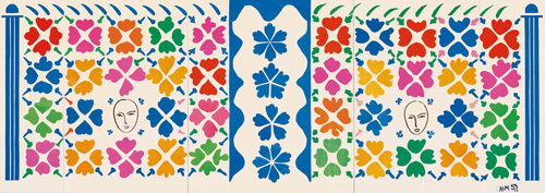 """in Pictures for Henri Matisse at MoMA. Image for Henri Matisse (French, 1869-1954). Large Decoration with Masks (Grande Décoration aux Masques), 1953. Preliminary maquette for ceramic. Gouache on paper, cut and pasted, and ink on white paper, mounted on canvas. 139 ¼ x 392 ¼"""" (353.6 x 996.4 cm). National Gallery of Art, Washington. Ailsa Mellon Bruce Fund, 1973.17.1. © 2014 Succession H. Matisse / Artists Rights Society (ARS), New York"""