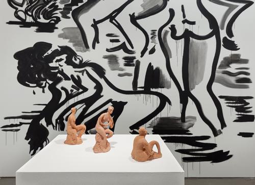 "in Pictures for Mira Dancy & Sarah Peters at Asya Geisberg Gallery. Image for Mira Dancy, BODYRITE, 2014, Mural in acrylic, 148"" x 156"". Courtesy Asya Geisberg"
