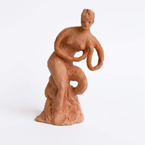 "in Pictures for Mira Dancy & Sarah Peters at Asya Geisberg Gallery. Image for Sarah Peters, Figurine with Looping Arms, 2014, Terracotta, 9"" x 4"" x 4"". Courtesy Asya Geisberg"