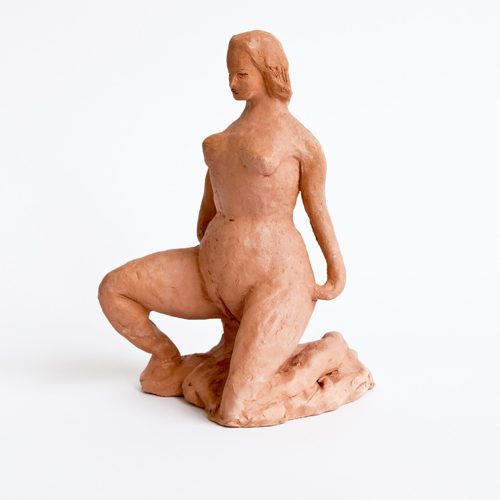"in Pictures for Mira Dancy & Sarah Peters at Asya Geisberg Gallery. Image for Sarah Peters, Presenter, 2014, Terracotta, 7.5"" x 4"" x 5.5"". Courtesy Asya Geisberg"