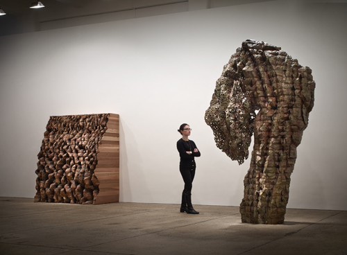 in Pictures for Ursula von Rydingsvard at Galerie Lelong. Image for Ursula von Rydingsvard: 'Permeated Shield,' Galerie Lelong, New York, October 23 – December 13, 2014. Courtesy of Galerie Lelong, New York