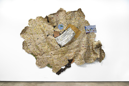 in Pictures for El Anatsui at Jack Shainman Gallery. Image for EL ANATSUI, 'Yet Another Place,' 2014, found aluminum and copper wire, 116 x 127 inches. ©El Anatsui. Courtesy of the artist and Jack Shainman Gallery, New York.