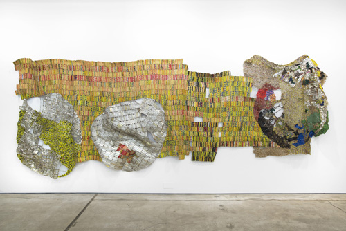 in Pictures for El Anatsui at Jack Shainman Gallery. Image for EL ANATSUI, 'Solar Eclipse,' 2014, found aluminum, copper wire and mixed media, 78  x 219 inches. ©El Anatsui. Courtesy of the artist and Jack Shainman Gallery, New York.