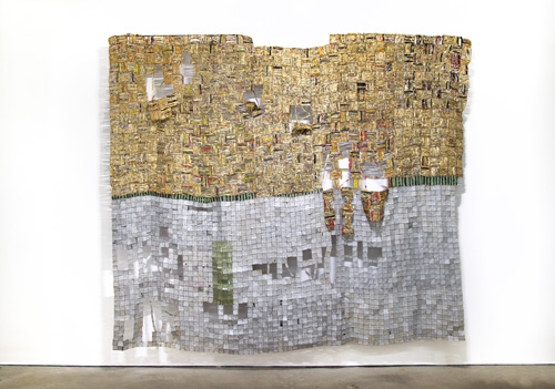 in Pictures for El Anatsui at Jack Shainman Gallery. Image for EL ANATSUI, 'Dissolving Dreams,' 2014, Found aluminum and copper wire, 130 x 107 inches. ©El Anatsui. Courtesy of the artist and Jack Shainman Gallery, New York.