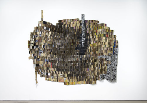 in Pictures for El Anatsui at Jack Shainman Gallery. Image for EL ANATSUI, 'Stained Story,' 2014, Found aluminum and copper wire, 89 x 129 inches. ©El Anatsui. Courtesy of the artist and Jack Shainman Gallery, New York.