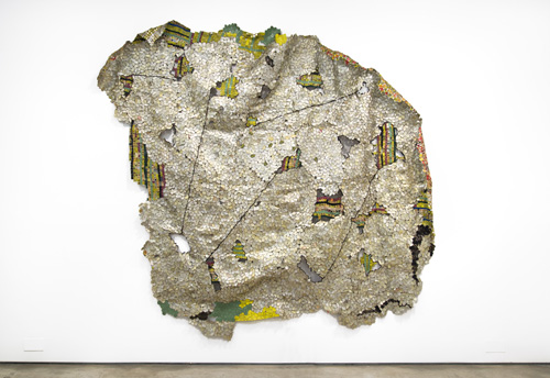 in Pictures for El Anatsui at Jack Shainman Gallery. Image for EL ANATSUI, 'Another Place,' 2014, Found aluminum and copper wire, 110 x 123 inches. ©El Anatsui. Courtesy of the artist and Jack Shainman Gallery, New York.