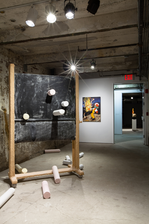 in Pictures for 'Puddle, pothole, portal' at SculptureCenter. Image for Installation view of 'Puddle, pothole, portal' curated by Ruba Katrib and Camille Henrot at SculptureCenter, 2014. © Jason Mandella