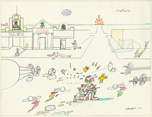 in Pictures for 'Puddle, pothole, portal' at SculptureCenter. Image for Saul Steinberg, Bank Street (Three Banks), 1975, Ink, pencil, colored pencil, crayon, watercolor, gouache, and rubber stamp on paper, 18 7/8 x 24 ½ in. Framed. The Saul Steinberg Foundation, New York. © The Saul Steinberg Foundation/Artists Rights Society (ARS), NY.