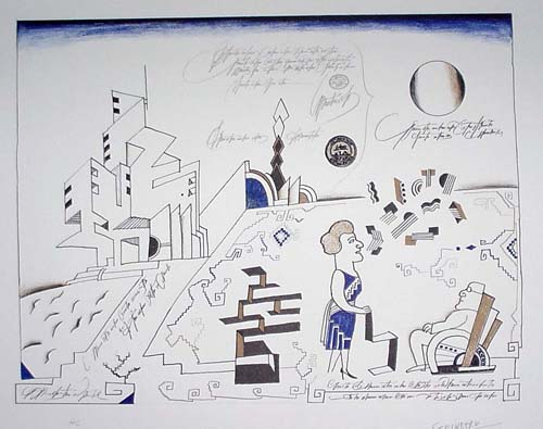 in Pictures for 'Puddle, pothole, portal' at SculptureCenter. Image for Saul Steinberg, Bauhaus, 1966, Lithograph on paper, 22 ½ x 30 in. Published by Maeght Éditeur. Unframed. The Saul Steinberg Foundation, New York. © The Saul Steinberg Foundation/Artists Rights Society (ARS), NY.