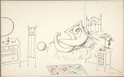 in Pictures for 'Puddle, pothole, portal' at SculptureCenter. Image for Saul Steinberg, Erotica I, 1961, Ink and colored pencil on paper, 14 ½ x 23 in. Unframed. The Saul Steinberg Foundation, New York. © The Saul Steinberg Foundation/Artists Rights Society (ARS), NY.