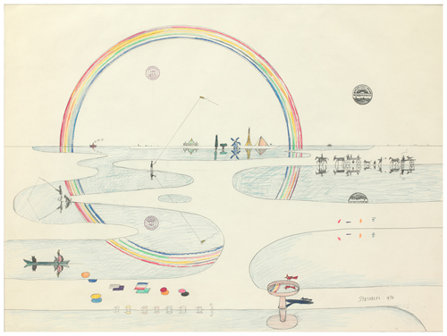 in Pictures for 'Puddle, pothole, portal' at SculptureCenter. Image for Saul Steinberg, Rainbow Reflected, 1974. Ink, crayon, colored pencil, graphite, and rubber stamps on paper, 29 3/8 x 39 1/2 in. The Saul Steinberg Foundation, New York. © The Saul Steinberg Foundation/Artists Rights Society (ARS), NY.