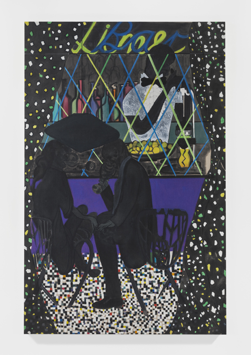 in Pictures for Chris Ofili at New Museum. Image for Chris Ofili, Lime Bar, 2014. Oil on linen. 122 1/8 x 78 3⁄4 in (310 x 200 cm) Private collection. © Chris Ofili. Courtesy the artist and David Zwirner, New York/London.