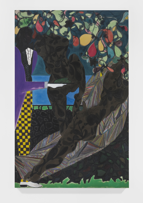in Pictures for Chris Ofili at New Museum. Image for Chris Ofili, Frogs in the Shade, 2014. Oil on linen. 122 1/8 x 78 3⁄4 in (310 x 200 cm). Private collection. © Chris Ofili. Courtesy the artist and David Zwirner, New York/London.