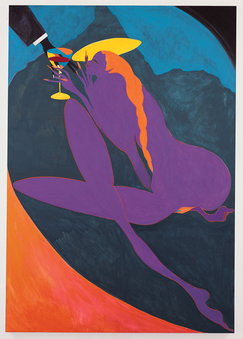in Pictures for Chris Ofili at New Museum. Image for Chris Ofili, Confession (Lady Chancellor), 2007. Oil on linen, 110 3/5 x 76 4/5 in (281 x 195.3 cm). © Chris Ofili. Courtesy the artist, David Zwirner, New York / London and Victoria Miro, London