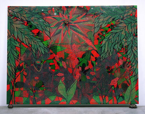 in Pictures for Chris Ofili at New Museum. Image for Chris Ofili, Afronirvana, 2002. Oil, acrylic, polyester resin, aluminum foil, glitter, map pins, and elephant dung on canvas,108 x 144 in (274.3 x 365.7 cm). © Chris Ofili. Courtesy the artist, David Zwirner, New York / London and Victoria Miro, London