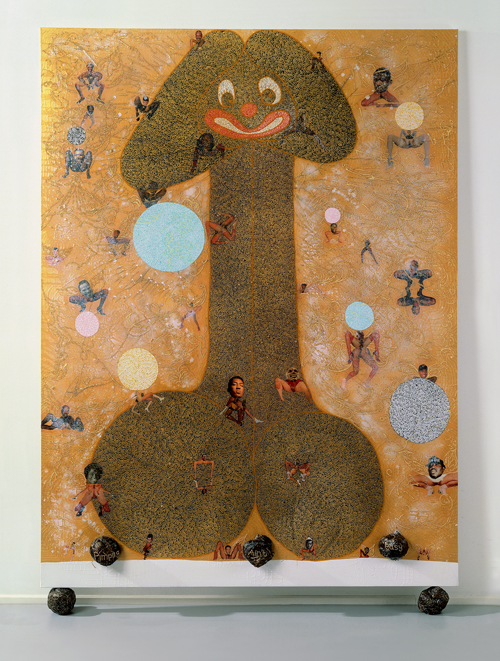 in Pictures for Chris Ofili at New Museum. Image for Chris Ofili, Pimpin' ain't easy, 1997. Oil, polyester resin, paper collage, glitter, map pins, and elephant dung on linen, 96 x 72 in (243.8 x 182.8 cm). © Chris Ofili. Courtesy the artist, David Zwirner, New York / London and Contemporary Fine Arts, Berlin.