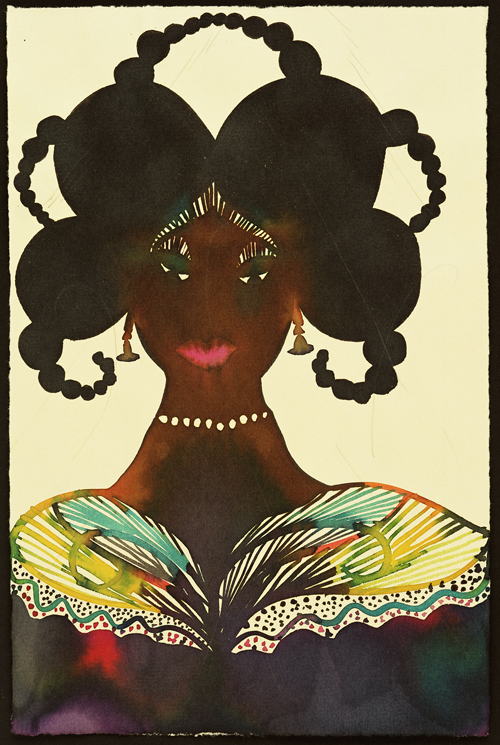 "in Pictures for Chris Ofili at New Museum. Image for Chris Ofili, ""Untitled (Afromuse),"" 1995–2005. Watercolor and pencil on paper, 9 3/5 x 6 1/5 in (24.3 x 15.7 cm). © Chris Ofili. Courtesy the artist, David Zwirner, New York / London and Victoria Miro, London"