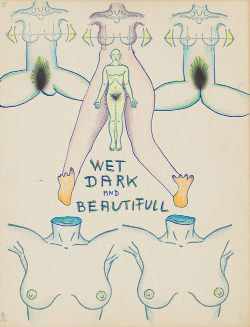 in Pictures for Kiki Kogelnik at Simone Subal Gallery. Image for Kiki Kogelnik, 'Untitled (Wet, Dark and Beautiful),' c. 1970, Color pencil, enamel and ink on paper, 14 x 11 inches (36 x 28 cm). Courtesy of the Kiki Kogelnik Foundation and Simone Subal Gallery.