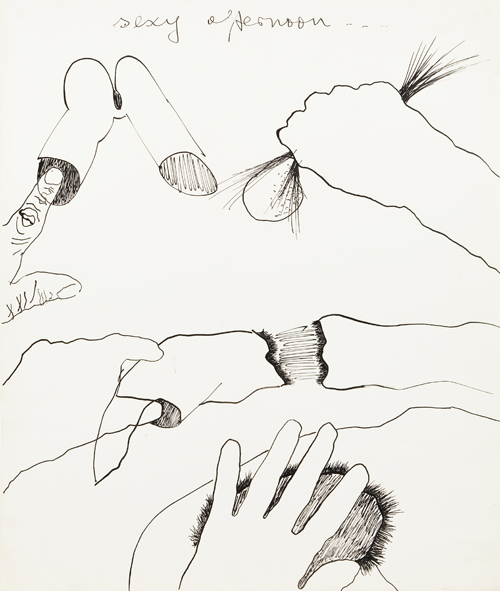 in Pictures for Kiki Kogelnik at Simone Subal Gallery. Image for Kiki Kogelnik, 'Sexy Afternoon,' c. 1969, Ink on paper, 16 3⁄4 x 14 inches (43 x 36 cm). Courtesy of the Kiki Kogelnik Foundation and Simone Subal Gallery.