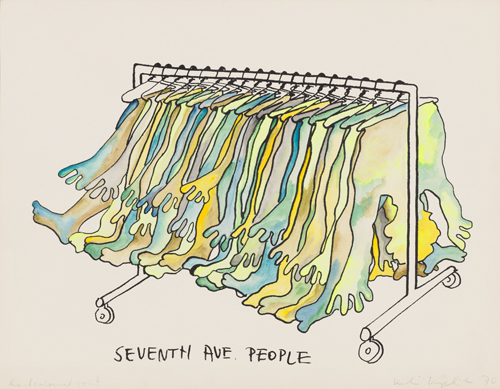 in Pictures for Kiki Kogelnik at Simone Subal Gallery. Image for Kiki Kogelnik, 'Seventh Avenue People,' 1970, Silkscreen, watercolor, fluorescent ink on paper, 23 x 29 1⁄2 inches (58 x 75 cm). Courtesy of the Kiki Kogelnik Foundation and Simone Subal Gallery.