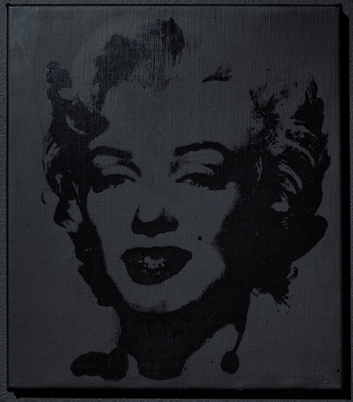 in Pictures for Sturtevant at MoMA. Image for Sturtevant. Warhol Black Marilyn. 2004. Synthetic polymer silkscreen and acrylic on canvas. 15 15/16 x 13 7/8 in. (40.5 x 35.2 cm). Ringier Collection, Switzerland. Courtesy Anthony Reynolds Gallery, London. © Estate Sturtevant, Paris
