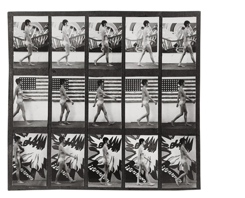 in Pictures for Sturtevant at MoMA. Image for Sturtevant. Study for Muybridge Plate #97: Woman Walking. 1966. Photograph. 7 3/4 × 8 1/4″ (19.7 × 21 cm). Glenstone. Photo: Alex Jamison. © Estate Sturtevant, Paris