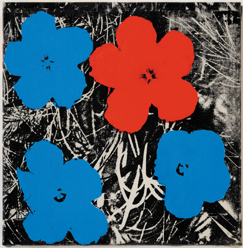 in Pictures for Sturtevant at MoMA. Image for Sturtevant. Warhol Flowers. 1964–65. Synthetic polymer screenprint on canvas. 22 1/16 × 22 1/16″ (56 × 56 cm). Estate Sturtevant, Paris. Courtesy Galerie Thaddaeus Ropac, Paris–Salzburg. © Estate Sturtevant, Paris