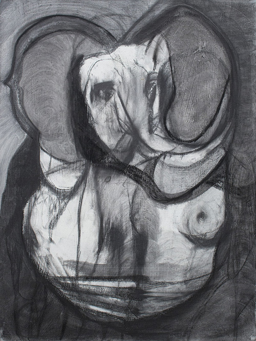 in Pictures for Maya Bloch at Thierry Goldberg Gallery. Image for Maya Bloch, 'Elephant,' 2014, graphite, ink and color pencil on canvas, 24 x 18 inches. Courtesy of Thierry Goldberg Gallery