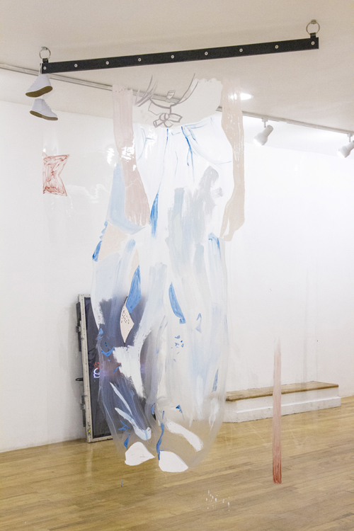 """in Pictures for Raque Ford and Erika Hickle at 321 Gallery. Image for Erika Hickle, 'Babe Blue,' 2014, Acrylic dispersion on vinyl, carbon steel, 54"""" x 84"""". Courtesy of 321 Gallery"""