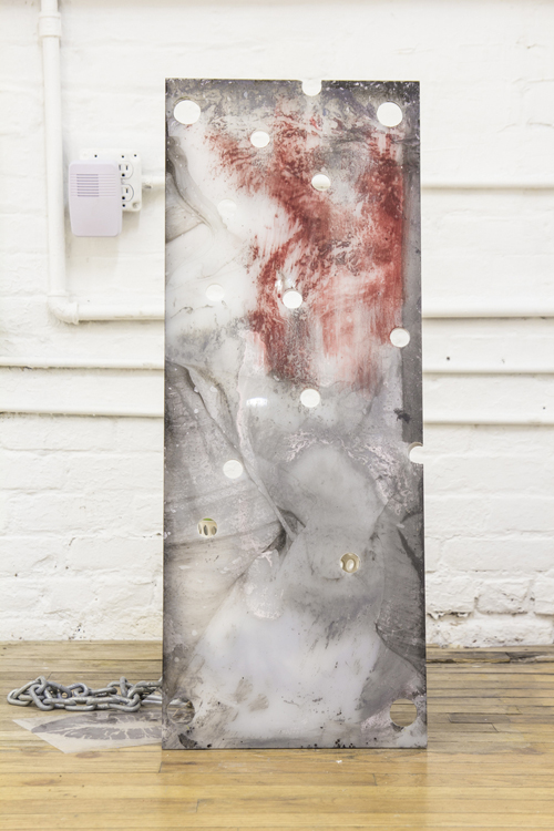 """in Pictures for Raque Ford and Erika Hickle at 321 Gallery. Image for Raque Ford, 'Git Wet,' 2014, Acrylic and spray paint on plexiglass, buckets, chain, Zip Tie and Inkjet print on transparency, 13"""" x 13"""" x 32"""". Courtesy of 321 Gallery"""