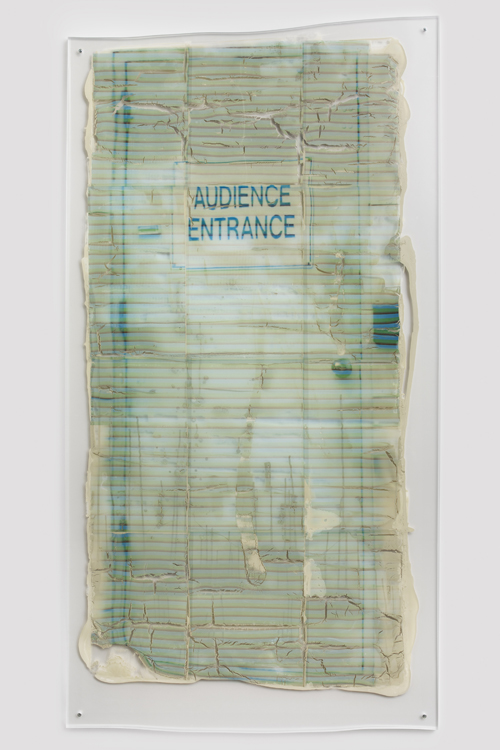 "in Pictures for Sara Greenberger Rafferty at Rachel Uffner Gallery. Image for Sara Greenberger Rafferty, ""Untitled,"" 2014, acrylic polymer and inkjet prints on, acetate on Plexiglas, and hardware, Irregular: 77 x 40 x 1/2 inches (195.6 x 101.6 x 1.3 cm). Courtesy of Rachel Uffner"