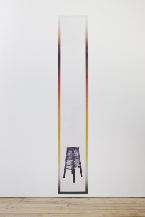 "in Pictures for Sara Greenberger Rafferty at Rachel Uffner Gallery. Image for Sara Greenberger Rafferty, ""Printed Frame with Stool,"" 2014, direct substrate printed, plastic and hardware, 144 x 24 inches (365.8 x 61 cm), Edition 1 of 3 1 AP. Courtesy of Rachel Uffner"