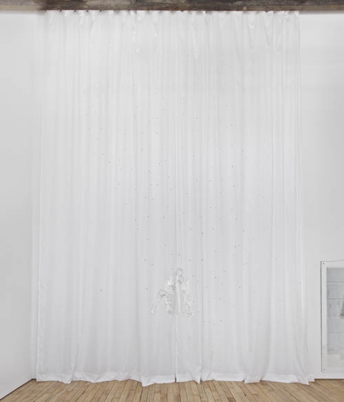 "in Pictures for Sara Greenberger Rafferty at Rachel Uffner Gallery. Image for Sara Greenberger Rafferty, ""White Curtains with Flies,"" 2014, polysilk, inkjet printed silk, fine Italian, vinyl, clear thread, and hardware, 20 x variable inches (50.8 x variable cm). Courtesy of Rachel Uffner"