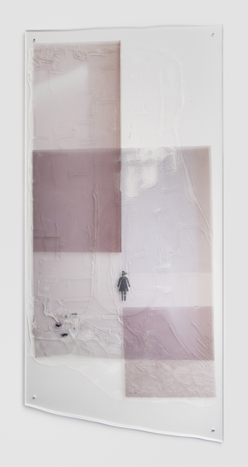 "in Pictures for Sara Greenberger Rafferty at Rachel Uffner Gallery. Image for Sara Greenberger Rafferty, ""Untitled,"" 2014, acrylic polymer and inkjet prints on, acetate on Plexiglas, and hardware, Irregular: 83 1/2 x 40 x 1/2 inches (212.1 x 101.6 x 1.3 cm). Courtesy of Rachel Uffner"
