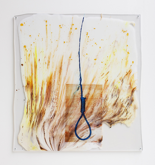 "in Pictures for Sara Greenberger Rafferty at Rachel Uffner Gallery. Image for Sara Greenberger Rafferty, ""Blue Noose,"" 2012-2013, acrylic polymer, watercolor, and inkjet, print on acetate, Plexiglas and hardware, 39 x 37 1/2 x 1/2 inches (99.1 x 95.3 x 1.3 cm), artist certificate. Courtesy of Rachel Uffner"
